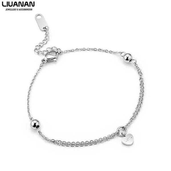 Love Hearts Bracelets Women Stainless Steel Delicate Simple Silver Bracelet Fashion Heart Jewelry Gift for Her Girl Lady
