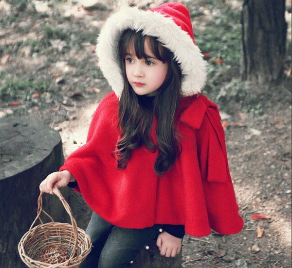 2017 winter spring fashion kids baby cape pattern red cotton hooded girls Coat jackets baby girl christmas cape cloaks clothes