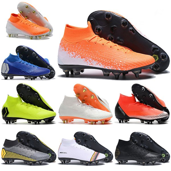 Mens High Ankle Football Boots LVL UP Superfly 6 Elite SG Soccer Shoes CR7 Mercurial Superfly VI 360 Neymar NJR ACC Soccer Cleats