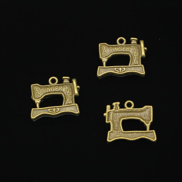 100pcs Charms vintage singer treadle sewing machine Antique Bronze Plated Pendants Fit Jewelry Making Findings Accessories 20*17mm