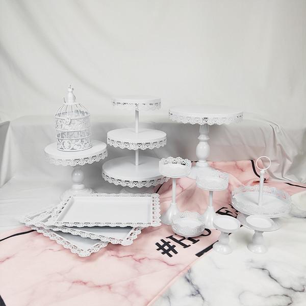 13 Pcs Cupcake De Casamento Set Sobremesa Xícara De Metal Por Atacado Placa Decoração Rosa Único Pequeno Gaiola De Bolo Stand