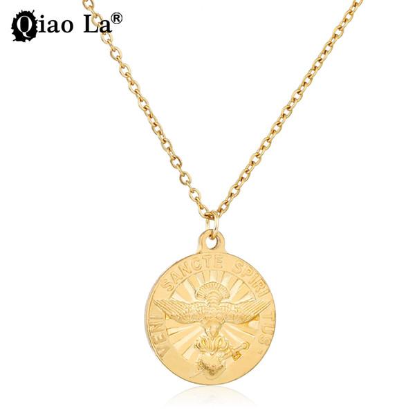 Qiao La nuova moda classica lunga collana pendente per le donne gioielli in lega d'oro stile punk collana pendente geometrico regalo del partito