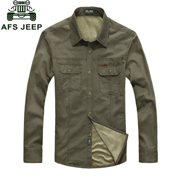 2017 M~3XL New Winter Men's Slim Fit Warm Dress Shirts Army Green Cotton Plus Size Thicken Fleece Shirt Men's Casual Long-Sleeve