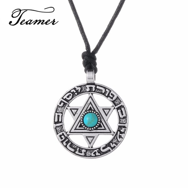 ashion Necklace Teamer 2018 Fasion Viking Pendant Necklace Star of David Hebrew Jewish Jewelry Blue Rhinestone Wicca Six Stars Pendant J...
