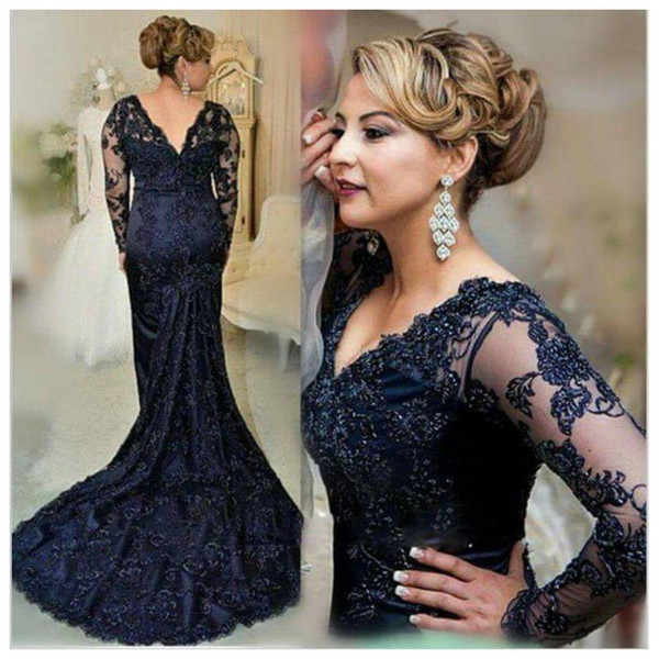 Plus Size Lace Mermaid Prom Dresses robes de bal Cheap V Neck Long Sleeve Appliques Formal Evening Gowns Dark Navy Cocktail Party Dress