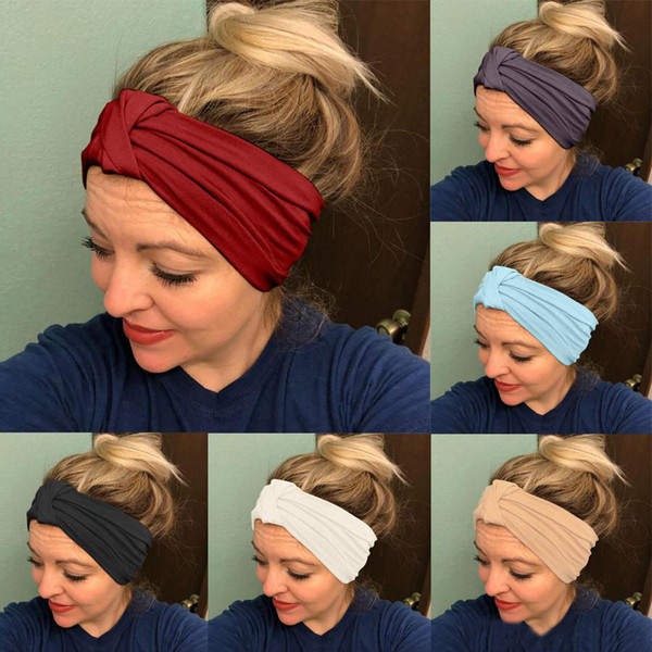 Women Knotted Cross Stretch Wide Headband Sports Yoga Headwrap Hairband 24*14cm Turban Head Band Ladies Hair Accessories 9Colors