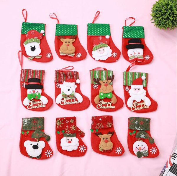 Weihnachtsstrumpf Chrismas Dekoration Socke für Heim Weihnachtsbaum Ornamente Geschenk Halter Strümpfe Neujahr Geschenk-Taschen GB1218