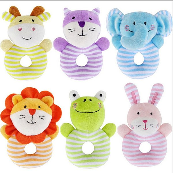 Pudcoco High Quality Baby Rattle Toys Little Rattle Sound Multi-Color Animal Rabbit Elephant Frog Deer Lion Cat