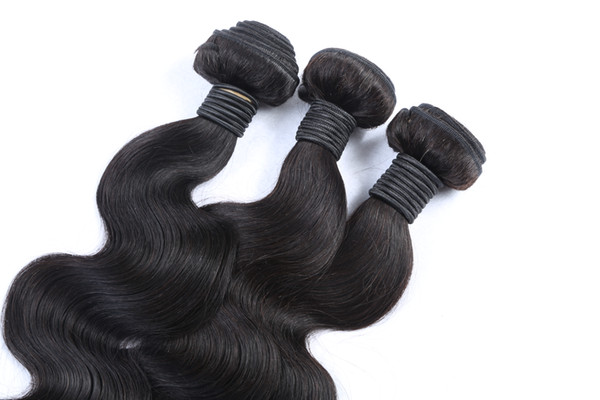 Jet Black Color 10-30 Inchs Brazilian Virgin Hair Extensions 100% Human Hair Weave Body Wave Bundles Non Remy Hair