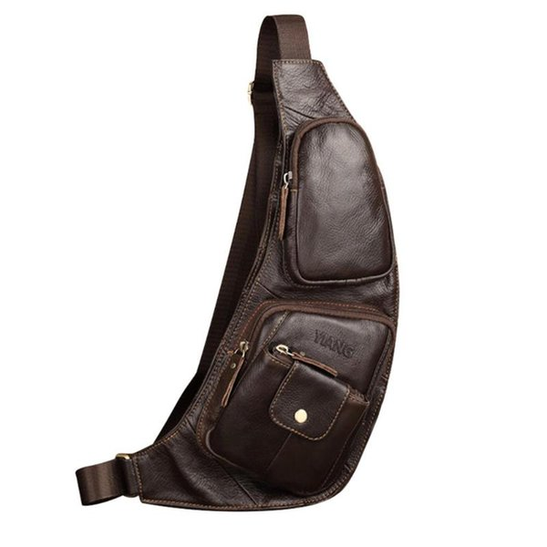 Men Genuine Leather Sling Chest Bag Solid Color Messenger Chest Belt Packs Casual Shoulder Waist Bags 2019 New