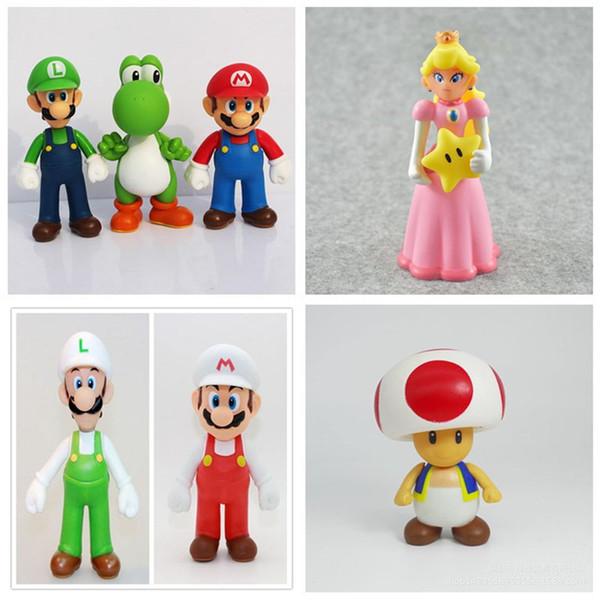 Hot Sale 12CM High Quality PVC Super Mario Bros Luigi Youshi Mario Princess Action Figures Gift Toy