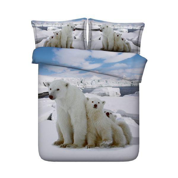glacier polar bear Kids Girls And Boys Wildlife Theme 3 Pieces Duvet Cover Set 2 Pillow Shams NO Comforter With YKK Zipper