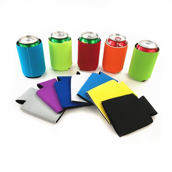 13 * 10 CM Neoprene Beer Can Holder 12 Colori Bottiglie Isolate Copre Cola Can Sleeve Wine Bottle Bags Cooler Party Decor 100 Pezzi DHL