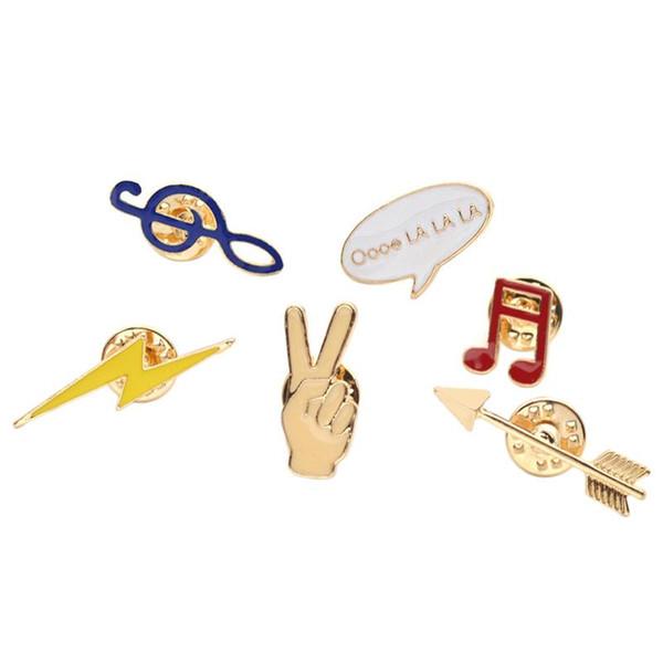Toptan Satış - Toptan-Lychee 6 adet / takım Sevimli Karikatür Broş Pin Emaye Not Yıldırım Gömlek Yaka Pin Yaka Pin Kadınlar Takı için