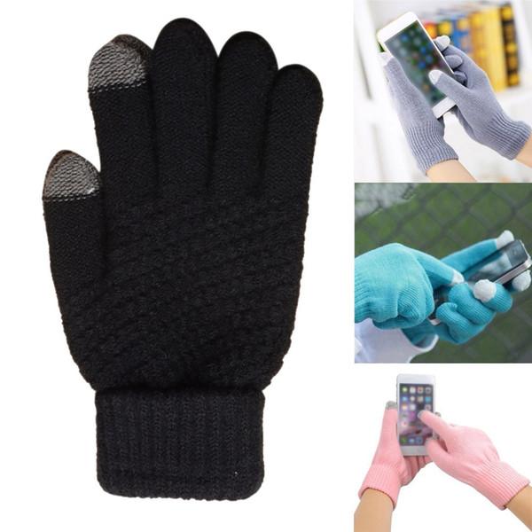 Askeri eldiven Womens Men Winter Geometric Knit Click Screen Fingers Screen Warm Fleece Gloves rekawiczki bez palcw