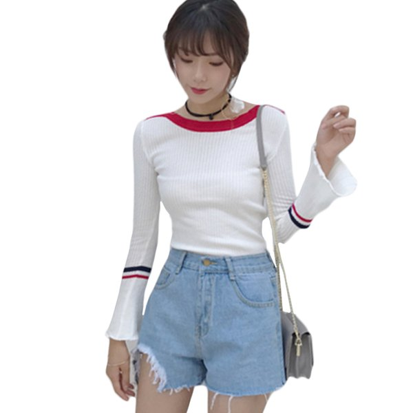 2019 Nouvelle Automne Femmes Tricots Flare Manches Pull À Manches Longues Lady Filles Casual Slim Stretch Blouse Pull