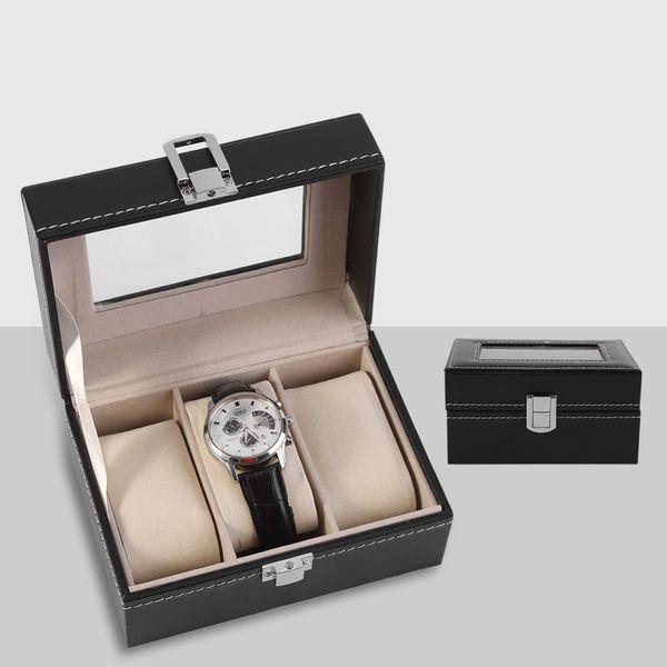 Watch Box 3 Grille Slots Watch Case Avec Verrouiller En Cuir PU saat kutusu Bijoux Organisateur Montres Affichage Boîte De Rangement Titulaire Cas