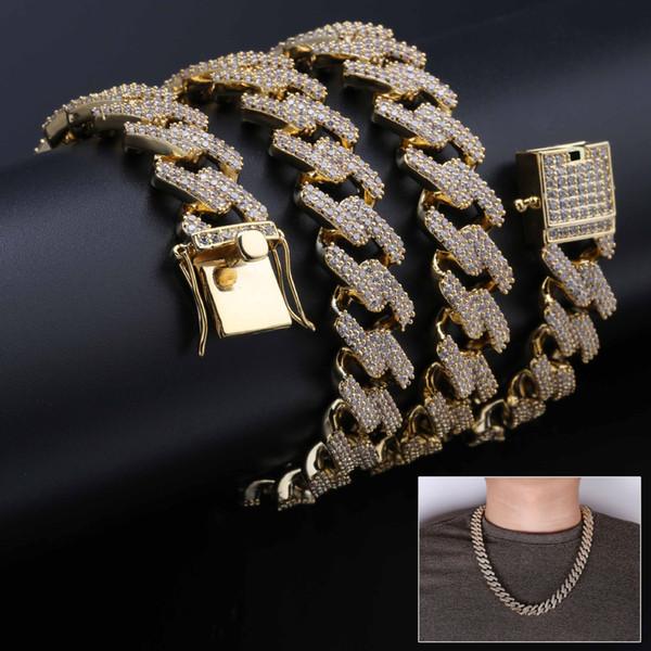 18k oro reale hip hop ghiacciato cz mens cubano quadrato catena a maglie collana 14mm diamante pieno Miami rock choker gioielli regali per ragazzi in vendita