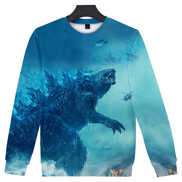 Godzilla: King of the Monsters 3D Print Autumn Sweatshirt Round Collar High Street Sweatshirt Fashion Oversize Pullover Casual