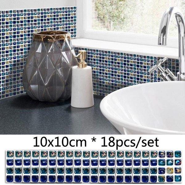 3d blau mosaik diy wandaufkleber badezimmer dekor wasserdichte fliesen aufkleber küche selbstklebende ölbeständig hintergrund aufkleber möbel aufkleber