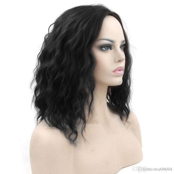 Curto Ondulado Preto Loira Cosplay Perucas de Cabelo Sintético Partes Do Cabelo Do Partido Peruca Cinza Vermelho para As Mulheres + peruca líquida