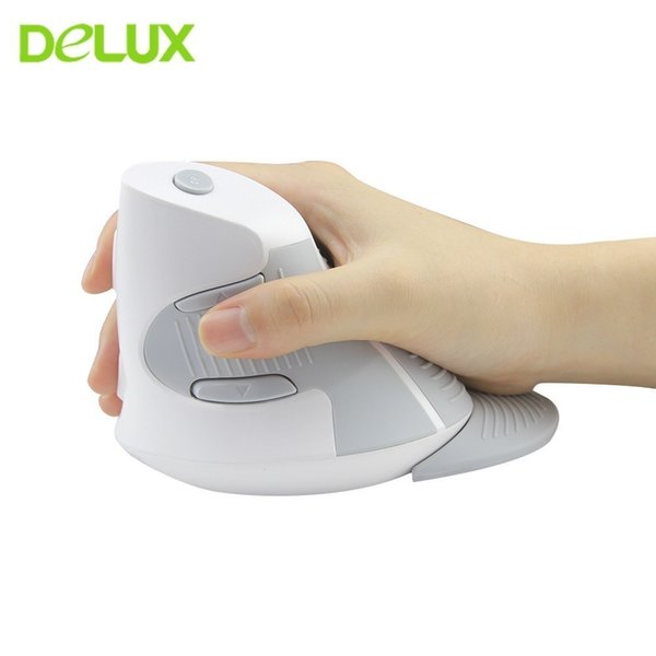 Delux M618 Ergonomic Vertical Mouse Wireless Optical Computer Mice USB 1600DPI Gaming 6 Buttons Healthy Mause For Laptop PC