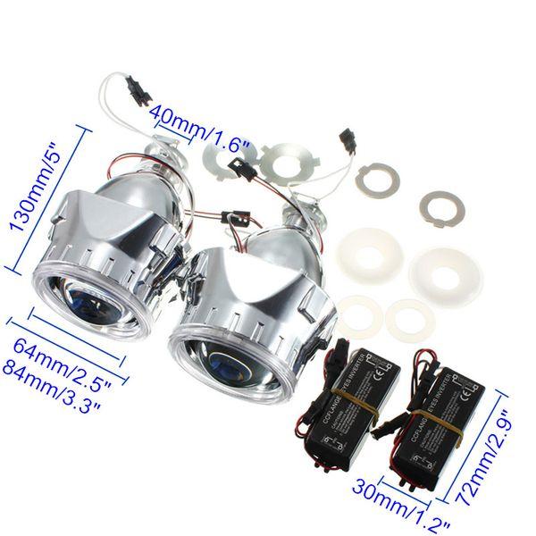Nuevo 2 Unids 2.5 Pulgadas Universal Bi xenón para HID Lente del Proyector Plateado Negro Sudario H1 Xenón Bombilla LED H4 H7 Motocicleta Faro del coche