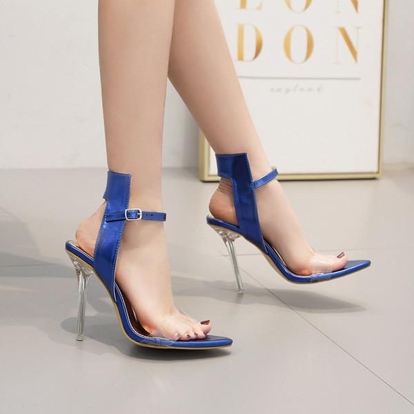 Дизайнерские дамские свадебные босоножки на высоком каблуке на лето с открытым носком на шпильке синего серебра для банкетов размера 35-40