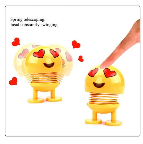 Ornamentos del coche Juguetes Niños Primavera Sacudir la cabeza Muñeca Expresión Emoji Calidad superior Auto lindo Interior del coche Decoración de escritorio Divertido Emoji Accesorios