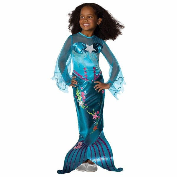 Girls Mermaid Dresses Princess Flare Sleeve Floral Tail Princess Dress For Birthday Evening Party Dresses Girl Children Kids Costumes