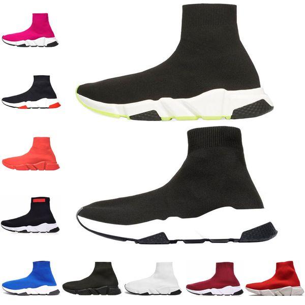 Balenciaga 2019 ACE Luxus Designer Socke Schuhe Speed Trainer Einfache Casual Rot Schwarz Weiß Flache Männer Frauen Turnschuhe Mode Shoes36-45