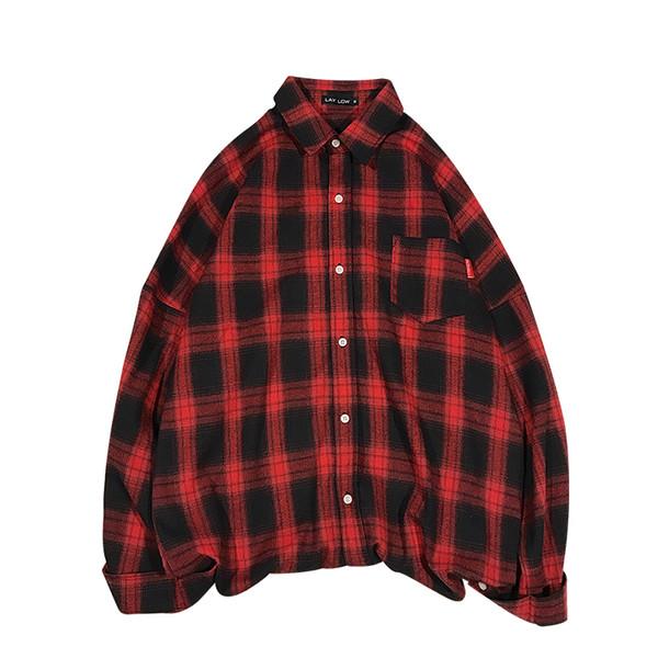 Plaid shirt Korean version of the trend of spring and autumn art Harajuku leisure mens dress shirts