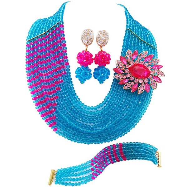 Cheap Lake Blue Fuchsia Pink Crystal Beads Women Anniversary Gift Necklace Earrings Sets 10C-CJZ-26