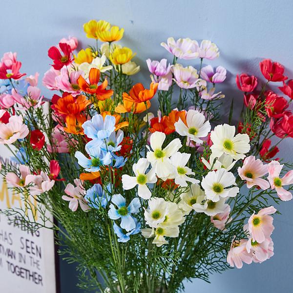 10 piezas Artificial 6 cabezas Sims de seda Flor de azalea para el banquete de boda Hogar Hotel Oficina Falso ramo de flores Florero Decoración de la guirnalda