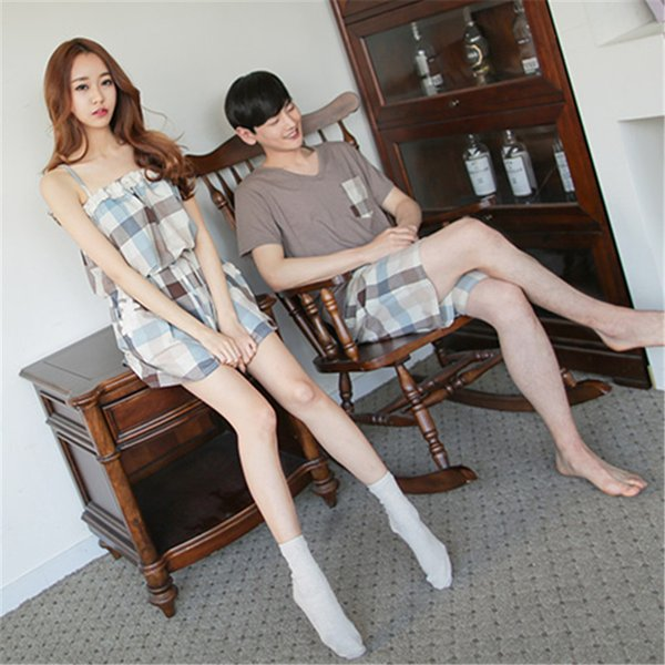 Babyoung New Korean Summer Cotton Couple Pajamas Set Short Lovers Pyjamas Men & Women Sleepwear Pijama Leisure Home Wear Clothes C19040901