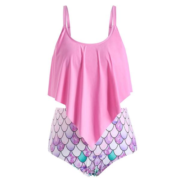 two piece swimsuit for women Tankini Push Up high waist bikini brazilian Fish scale plus size swimwear women bathing suit girls