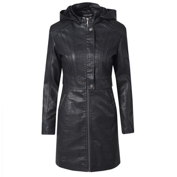 Autumn Winter Faux Leather Jacket Womens Zipper Long sleeve Hooded Long Leathers Coat Women High quality Biker jackets PU