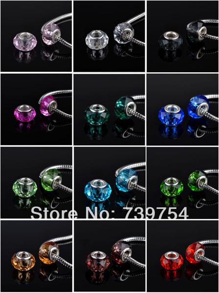 50pcs/lot !! Mixed 12 colors 925 silver Murano Glass Beads Europe Fits Charm Bracelets necklaces & pendants