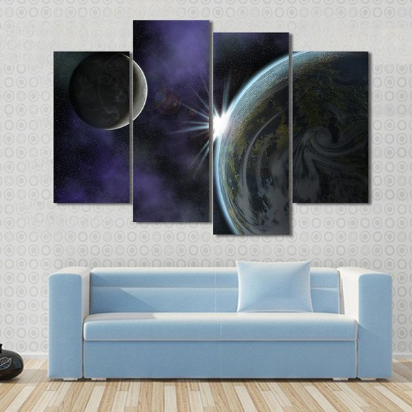 Modular Canvas Painting Framework For Living Room HD Printed Poster 4 Pieces Planet Natural Scenery Pictures Wall Art Home Decor