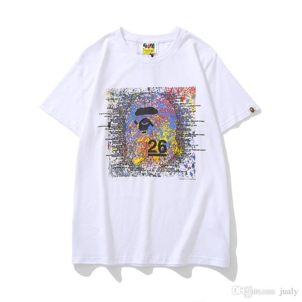 19ss Camisetas de diseñador para hombre un mono de baño camiseta mono 26 Aniversario Color Tinta salpicada Impreso camiseta hombres mujeres hip hop tee