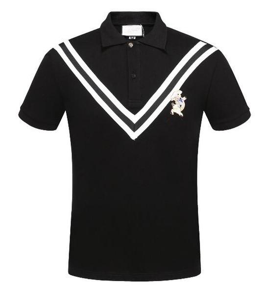 Yaz giyim erkekler siyah / beyaz / yeşil polo t-shirt rahat Yaka kısa kollu işlemeli domuz t shirt tee