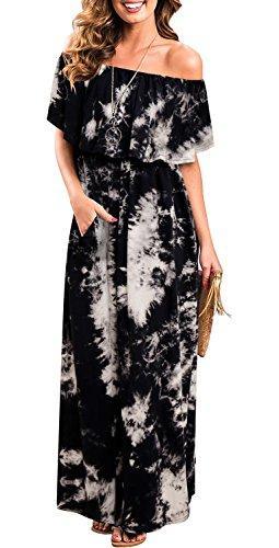 Женские платья с открытыми плечами и оборками Макси длинное платье с длинными рукавами