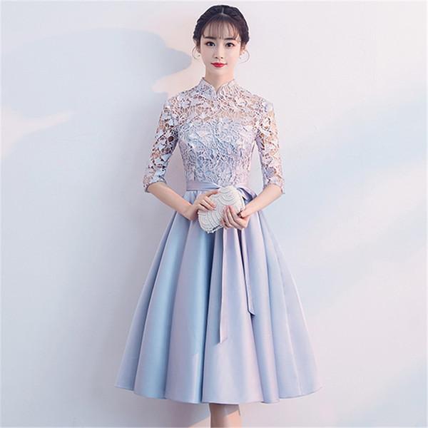 Arc Bleu Femmes Qipao Satin Robe De Soirée De Luxe De Luxe Évider Cheongsam Chinois Robe De Bal Sexy Élégant Dentelle Courte Robes