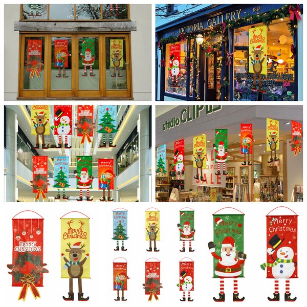 80*40cm Christmas Cloth Flag Window Home Wall Decor Party Hanging Ornaments Paintings Santa Claus Deer Tree door Flags FFA1342