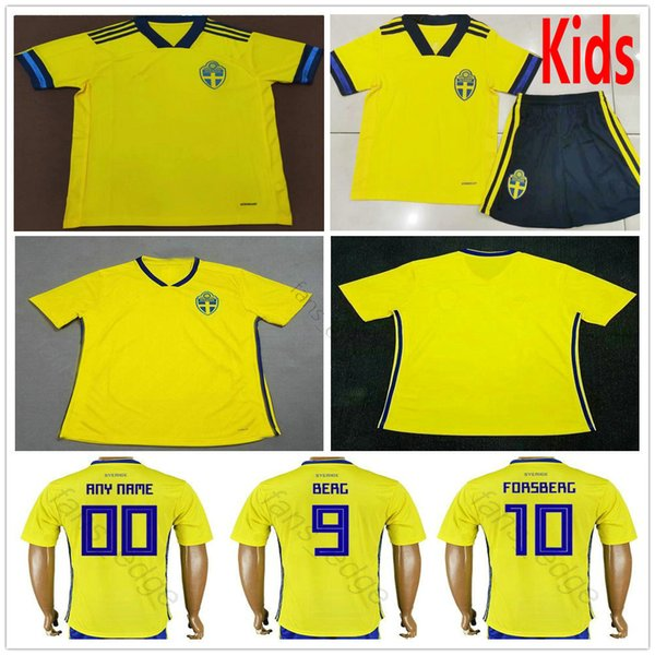 Sweden World Cup 2020.2019 2019 2020 Sweden Soccer Jerseys Johansson Johnsson Guidetti Forsberg Berg Larsson Custom Swedish Home Yellow Adult Kids Youth Football Shirt From