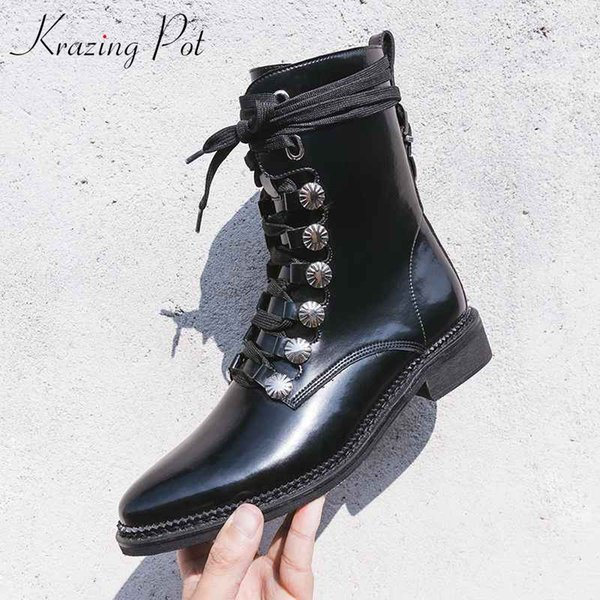 Krazing Pot hiver bottes de moto en cuir véritable med talons streetwear oriental star de cinéma tout-match magnifique bottines L57