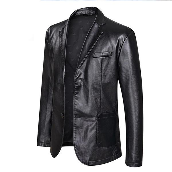 2019 Marca PU giacca in pelle da uomo Autunno Inverno Casual Giacche uomo vestiti solidi Capispalla Motociclista