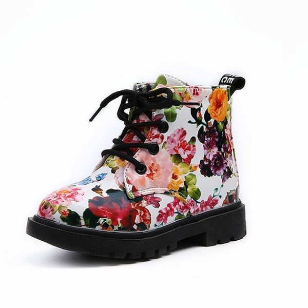 2019 Cute Girls Boots Promotion Fashion Elegant Floral Flower Print Kids Shoes Baby Martin Boots Casual Leather Children Boots