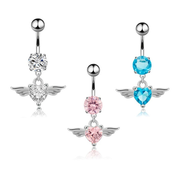 Surgical Steel Belly Button Navel Rings Heart style Pendant Wings Dangle Crystal Body Piercing Jewelry jewelry Silver(White,pink,blue)