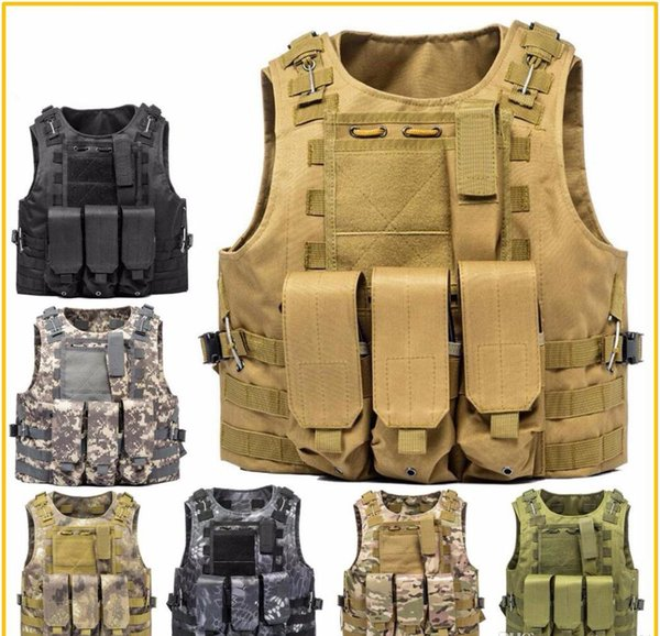 Airsoft Tactical Vest Molle Combat Assault Plate Carrier Tactical Vest 7 Colori CS Outdoor Riding Abbigliamento Caccia Gilet